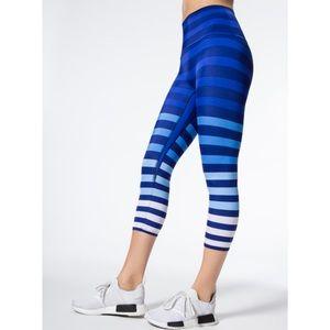 K Deer Kristin Blue Stripe Capri Crop Leggings